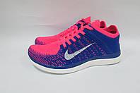 Кроссовки женские Nike Free Flyknit 4.0 (631050-600) синие с розовым код 0219А