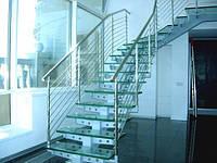 Стеклянные лестницы с металлическим поручнем