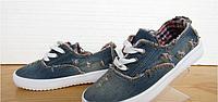 Мокасины с джинсовой ткани