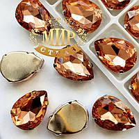 Cтразы в цапах, Капля, Размер 18x25, Цвет Peach
