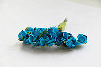 Розы Синие 1,5 см из бумаги на проволоке 12 шт/уп