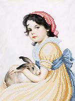 Схема для частичной вышивки бисером Девочка с кроликом А-519