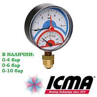 """Icma 258 термоманометр радиальный 1/2"""" ф80 0-10 бар 0-120°C"""