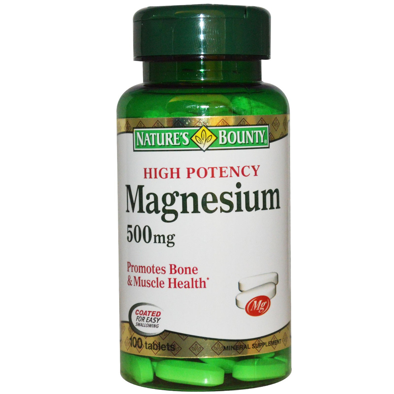 Магний, Nature's Bounty, 500 мг, 100 таблеток