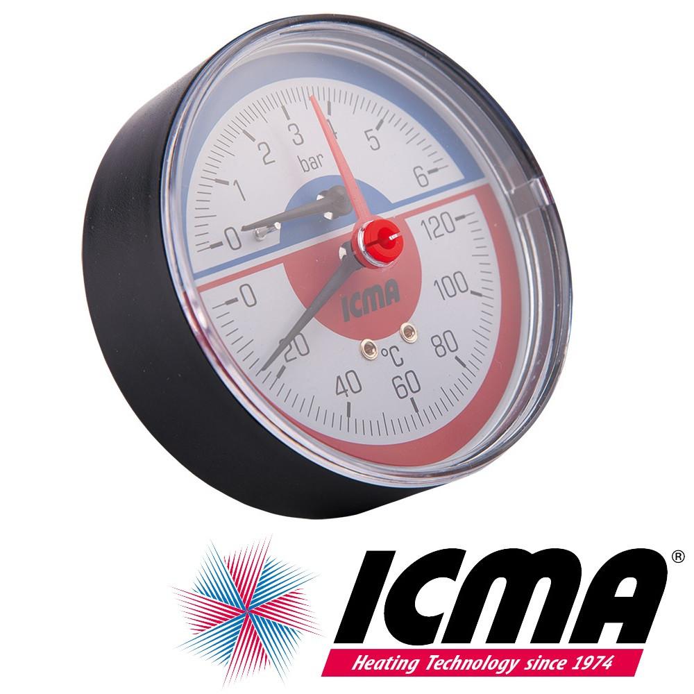 """Icma 259 термоманометр фронтальный 1/2"""" ф80 0-10 бар 0-120°C"""