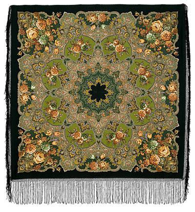 """Многоцветная шаль из уплотненной шерстяной ткани с шелковой бахромой """" Радоница """" рис 920-30"""