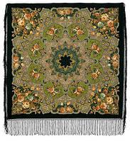 """Многоцветная шаль из уплотненной шерстяной ткани с шелковой бахромой """" Радоница """" рис 920-30, фото 1"""