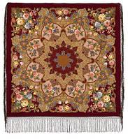 """Многоцветная шаль из уплотненной шерстяной ткани с шелковой бахромой """" Радоница """" рис 920-7"""