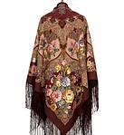 """Многоцветная шаль из уплотненной шерстяной ткани с шелковой бахромой """" Радоница """" рис 920-7, фото 4"""
