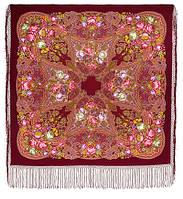 """Многоцветная шаль из уплотненной шерстяной ткани с шелковой бахромой """" Ненаглядная """" рис 1025-7, фото 1"""