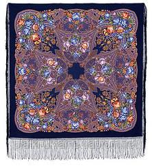 """Многоцветная шаль из уплотненной шерстяной ткани с шелковой бахромой """" Ненаглядная """" рис 1025-14"""