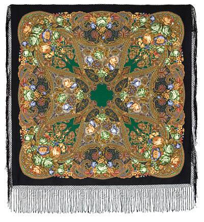 """Многоцветная шаль из уплотненной шерстяной ткани с шелковой бахромой """" Ненаглядная """" рис 1025-18"""