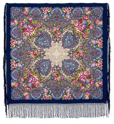 """Многоцветная шаль из уплотненной шерстяной ткани с шелковой бахромой """"Старый замок  """" рис 947-14"""