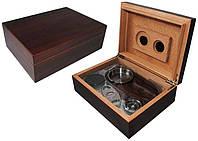 Хьюмидор 600291 для 12 сигар, коричневый + набор, 24х18х8 см