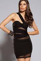 Распродажа по цене закупки. Черное платье со вставками из стрейч-сетки L2630