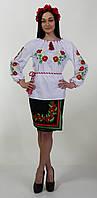 Женская вышиванка на длинный рукав, с нежными полевыми цветами