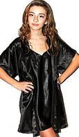 Халат и пеньюар в комплекте DKaren реплики, красивый комплект: ночная сорочка + халатик. Цвет - черный.