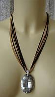 Ожерелье колье массивная подвеска золотистый кристалл металл ювелирная бижутерия 6454