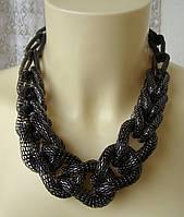 Ожерелье колье модное стильное массивное цепь металл ювелирная бижутерия 6455