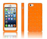 Силиконовый оранжевый чехол со стразами для Iphone 5/5S