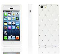 Силиконовый белый чехол со стразами для Iphone 5/5S