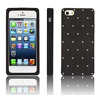 Силиконовый черный чехол со стразами для Iphone 5/5S