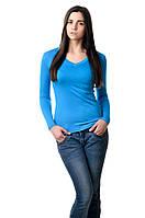 Женская футболка с длинным рукавом вискозная, бирюза.