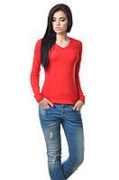 Повседневная женская кофточка красная с длинным рукавом.