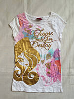 """Детская футболка для девочки 8-10 лет,""""Девочка"""",белая"""