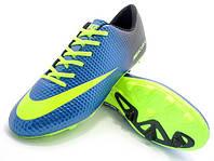 Детские футбольные бутсы Nike Mercurial FG Blue/Volt/Black, фото 1