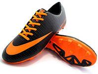 Футбольные бутсы Nike Mercurial FG Black/Orange, фото 1
