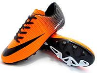 Детские футбольные бутсы Nike Mercurial FG Orange/Black, фото 1