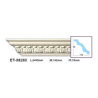 Карниз(плинтус) потолочный с орнаментом Classic Home ET-88260, лепной декор из полиуретана