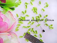 Бусины ромб с гранями салатовый