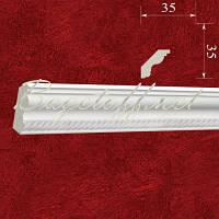 Карниз(плинтус) потолочный гипсовый с орнаментом КР0350351, лепнина из гипса