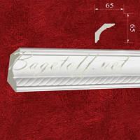 Карниз(плинтус) потолочный гипсовый с орнаментом КР0650651, лепнина из гипса