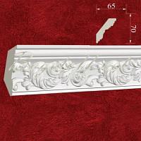Карниз(плинтус) потолочный гипсовый с орнаментом КР0700651, лепнина из гипса