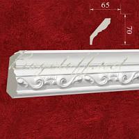 Карниз(плинтус) потолочный гипсовый с орнаментом КР0700652, лепнина из гипса