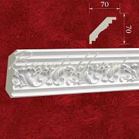 Карниз(плинтус) потолочный гипсовый с орнаментом КР0700701, лепнина из гипса