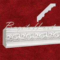 Карниз(плинтус) потолочный гипсовый с орнаментом КР0800781, лепнина из гипса