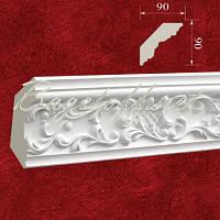 Карниз(плинтус) потолочный гипсовый с орнаментом КР0900901, лепнина из гипса