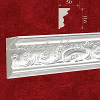 Карниз(плинтус) потолочный гипсовый с орнаментом КР1160501, лепнина из гипса