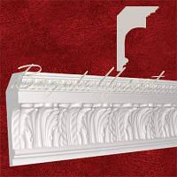 Карниз(плинтус) потолочный гипсовый с орнаментом КР1871201, лепнина из гипса