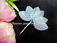 Листья тканевые декоративные серебряные на стебле упаковка 10 штук