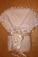 Плюшевый  конверт-одеяло для новорожденного зимний на мутоне
