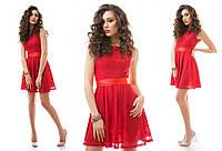 Платье из гипюра с атласным поясом 5 цветов