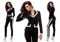 Черно-белый классический брючный костюм