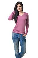 Повседневная женская кофточка - футболка сдлинным рукавом и манжетами сиреневая