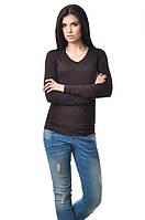 Удобная женская футболка с длинным рукавом коричневая