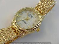 Часы Rolex Oyster Perpetual B15 (113858) женские золотистые с белым циферблатом в стразах римские цифры